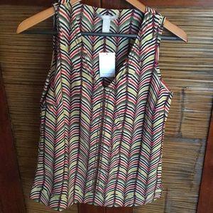 Banana Republic sleeveless geo. print blouse
